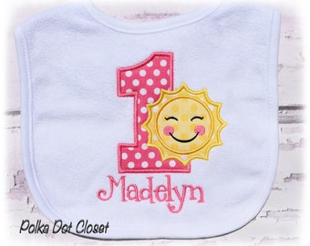 Baby Girl Birthday Sunshine bib, You are my sunshine birthday, First Birthday bib, Monogrammed bib, cake smash