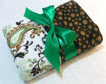 CLEARANCE SALE-NOW just 20 dollars-Ready to Ship-Minky Baby Blanket -Green/Black Paisley with Brown and Mocha Bubble  Dot Minky -Crib  Size