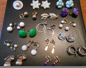 Vintage  Lot of 16 Earrings and one shoe clip