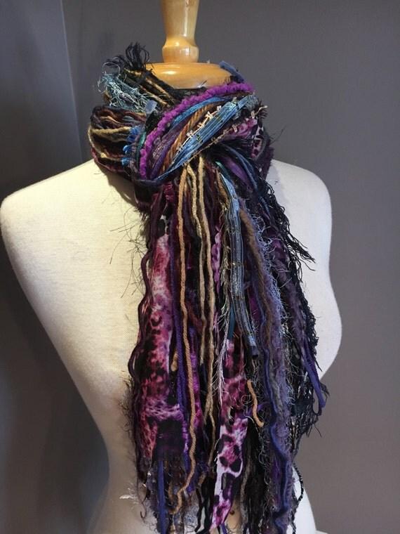Fringie Scarf, Wonderland with Animal print, Knotted handmade Scarf, Purple blue black fringe scarf, boho fashion, accessory, funky scarf