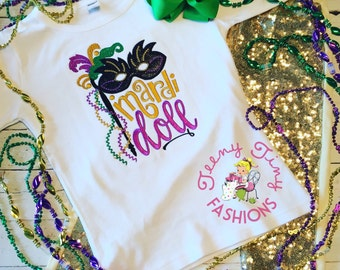 Mardi Gras Shirt ~ Mardi Gras Doll ~  Mardi Gras Parade Shirt ~ Girls Mardi Gras Shirt ~ Parade Shirt ~1st Mardi Gras~Beads Shirt