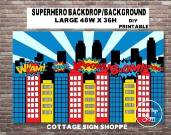 Superhero Birthday Party,Superhero Backdrop, Superhero Background, DIGITAL, YOU PRINT, Superhero Party Decorations, Superhero Decorations