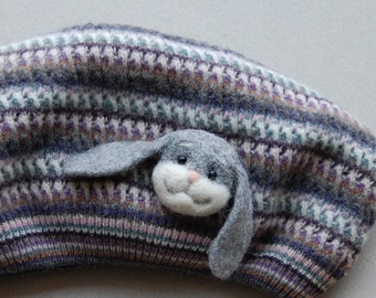 Felted Cute Bunny Brooch, needle felted jewelry,  gray, handmade