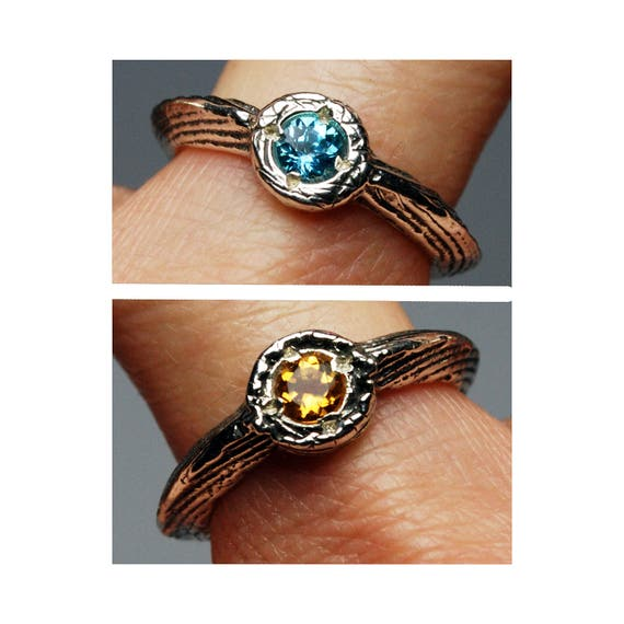 Double Sided Citrine and Topaz Lucky Charm Ring