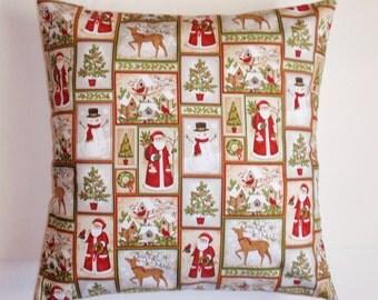 SUMMER SALE - CHRISTMAS Throw Pillow Cover, Santa Snowmen & Reindeer Cozy Country Christmas Cushion Cover, Christmas Decor Accent Pillow