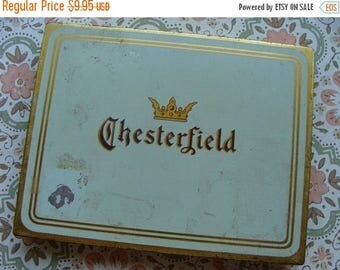 ONSALE Antique Chesterfield Cigarette Hinged Tin