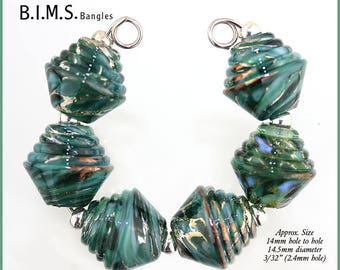 Lampwork Beads, Silvered Sea Green Half Ribbed Bicone Italian Murano lampwork beads Layered with Silver Foil, Bims Bangles, Made to Order