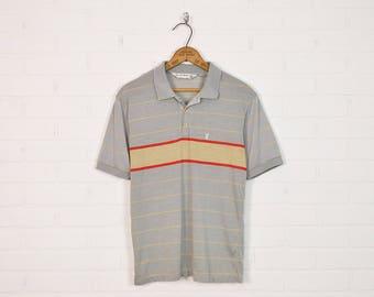 Vintage 70s 80s Playboy Polo Shirt T-Shirt Striped Polo Retro Shirt Hipster Shirt Indie Shirt Short Sleeve Collar Grey Red S Small M Medium