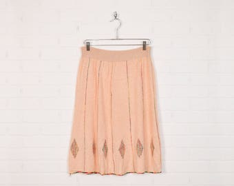Vintage 70s Skirt Sweater Skirt Knit Skirt 70s Hippie Skirt Boho Skirt A-Line Skirt Midi Skirt High Waist Peach Rainbow Embroidered L Large