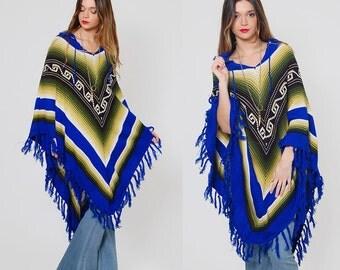 Vintage 70s TRIBAL Poncho Blue ETHNIC Knit Cape Boho Poncho SOUTHWESTERN Poncho Hippie Sweater Chevron Stripe Poncho