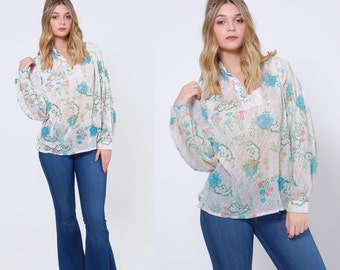 Vintage 70s FLORAL Blouse SHEER Boho Top Printed Hippie Top Tunic