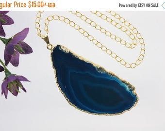 ON SALE Blue Agate Pendant, Agate Necklace, Agate Slice, Boho Jewelry, Gold Plated Agate, Layered Necklace, Boho Necklace, APS75