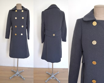 COAT Sale! Vintage Double Breasted HEAVY gray wool coat XS/S 60s mod 1960s mid century jacket