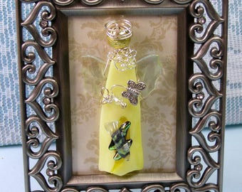 Artist Framed Yellow SUNSHINE BUTTERFLY ANGEL Art Glass-Kiln Fired Glass-Wire Wrapped-One of a kind