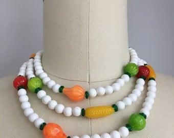 """Vintage Beaded Veggies Vegetable Bead Long 49"""" Strand Necklace Japan wear multiple ways"""