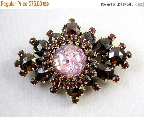 SPRING CLEANING SALE Vintage gold tone garnet rhinestone spray pin brooch pendant necklace with large foiled art glass cabochon