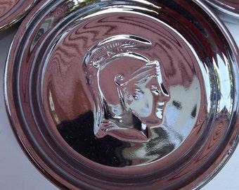 Vintage Mercury Glass Silver Roman solidier Gladiator Coaster Set Barware
