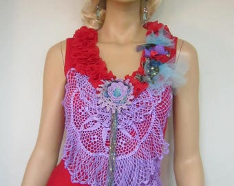 Unique Red Top, Art to Wear, Rib Top , Whimsy Top, Gypsy, Sequin, Crochet Lace , Romantic, Vibrant Colors,