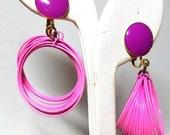50% OFF 1950s Mod Earrings Pink  Purple Clip on Vintage Earrings