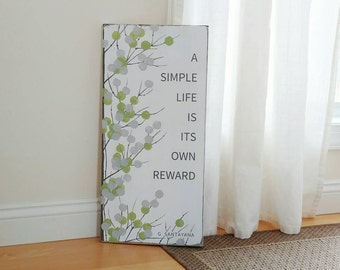 Green Branches Contemporary Sign, Inspirational Message Wood Sign, Green and White, 11 x 23 Inches, A Simple Life Quote, Wall Decor