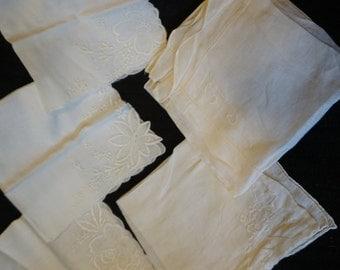 Vintage Floral Lace Edges Handkerchiefs  Set of 5