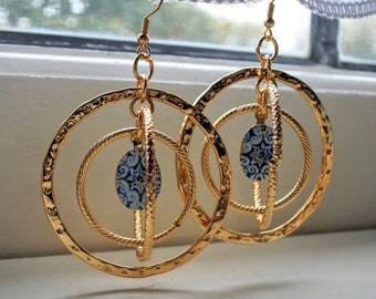 Portugal Blue Antique Azulejo Tile Replica Spiral HOOPS Earrings from Nazaré Chapel of Memory -16th century tiles