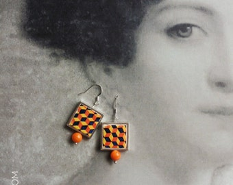 Portugal  Antique Azulejo Tile Majolica Replica SILVER FRAMED  Earrings, AvEIRO Orange - Geometric  Retro Gift Box Included 791SF