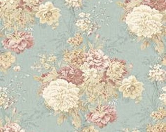 Dollhouse Miniature Shabby Chic Wallpaper Pink and Blue Victorian Floral 1:12