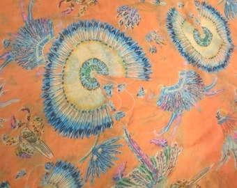 "Vintage Orange Scarf with Feather Design 64 x 25"" Feels like SILK"