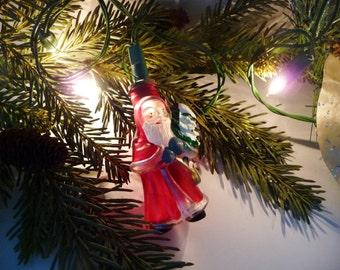 Vintage Christmas Santa Glass Light Cover Ornament, Old World