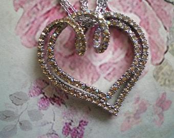 Lovely Vintage Rhinestone Swirly Heart on Three Strand Silver Tone Chain