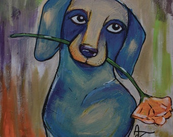 "Miniature Dachshund With Flower - limited edition print - dog - 8"" x 10"""