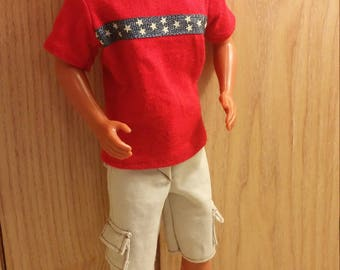 Red, blue, and stars t-shirt and cargo shorts for Ken