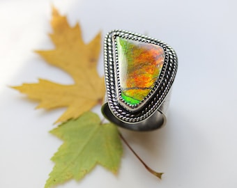 Large Ammolite Ring/ Statement Ring/ Intense Fire Ammolite/  Orange Gold and Green Fire/ Ammonite Ring/ Nature/ Textured Sterling/ Size 7.75