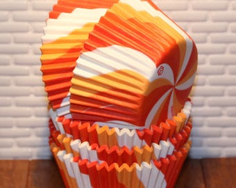 Orange Swirl Heavy Duty Cupcake Liners (Qty 32) Orange Cupcake Liners, Orange Baking Cups, Orange Muffin Cups, Cupcake Liners, Baking Cups