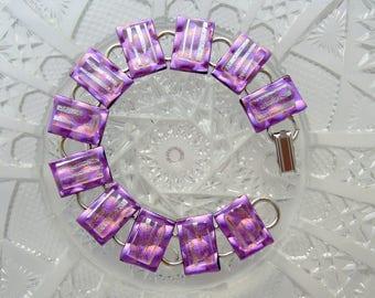 Bohemian Bracelet - Dichroic Fused Glass Bracelet - Glass Jewelry - Boho Jewelry - Fused Glass - Hippie Jewelry - Charm Bracelet 5995