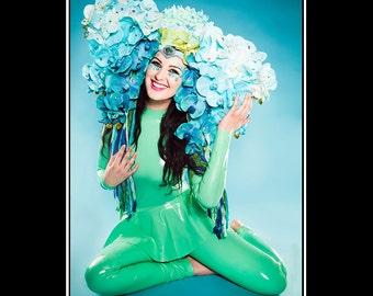 Under the Blue Sky... Orchid Headdress in Blue Green Aqua Sparkles Yarn Hat Costume