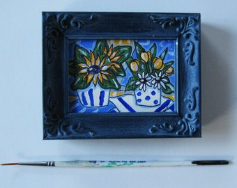 Blue Still life acrylic painting on canvas, Original art, Sunflowers,Tulips, Daisies, shabby blue frame, 3  x 4, French Country, gift idea