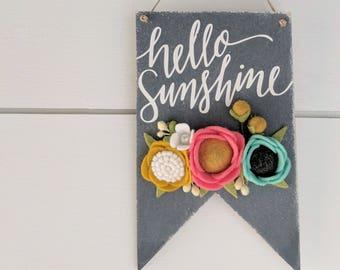 Mini hello sunshine banner with felt flowers
