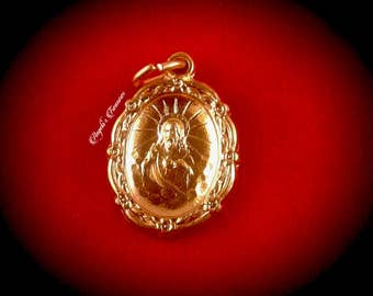Vintage Sacred Heart of Jesus, Sagrado Corazon de Jesus, Ornate Medal