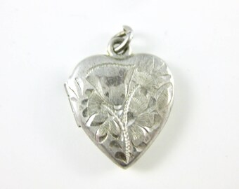 Vintage Small Sterling Silver Heart Locket Pendant