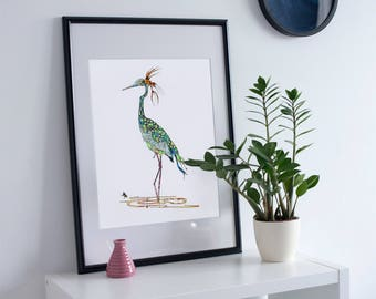 Crane Open Edition Fine Art Print from Original // Blue Green // Colorful // Patterned // Bird // Animal // Stork 13x19, 8.5x11 or 5x7