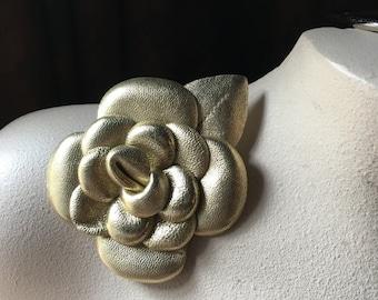 GOLD Leather Flower Applique  for Bridal Design, Shoe Clips, Headbands, Costumes