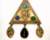 Artsy Triangle Pin, Tribal Influence, Metro Tribal Design, 1990s