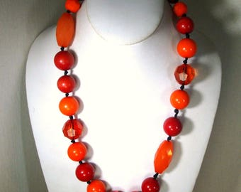 Red n Orange Necklace w 3 Matching Bangles, OOAK By Rachelle Starr,  Lipstick and Cherry