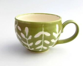 Large Handmade Stoneware Latte Mug // Soup Mug in Wasabi Greenery
