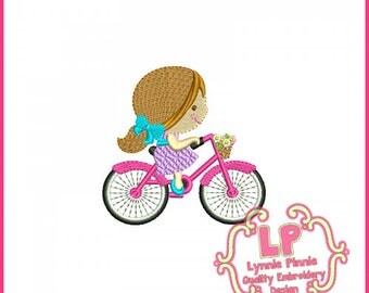 Spring Bicycle Cutie Girl FILLED  Embroidery Design  3x3 4x4  Machine Embroidery Design
