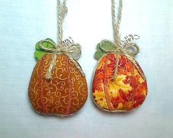 Miniature Pumpkin Ornament | Party Favor | Holidays | Rustic Country | Fall | Primitive Folk Art | Tree Ornament | Thanksgiving | Set/2 | #1