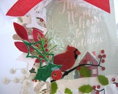 Christmas Holiday Cardinal Deluxe Art Gift Tag~hang tag~cream~red~holly green~gift bag swag~pretty packaging~snowflake