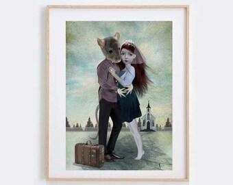 Anthro Art - Weird Romance Print - Girl & Rat - Forbidden Love Art - Wall Decor - Elope